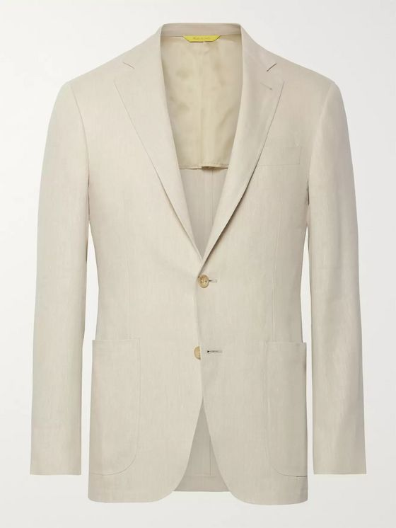 Canali Beige Kei Slim-Fit Linen and Wool-Blend Suit Jacket