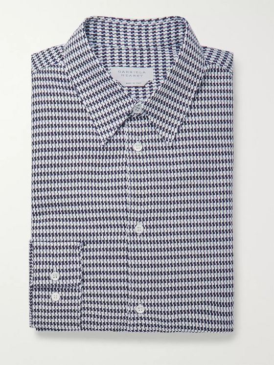 Gabriela Hearst Quevedo Slim-Fit Houndstooth Brushed-Cotton Shirt