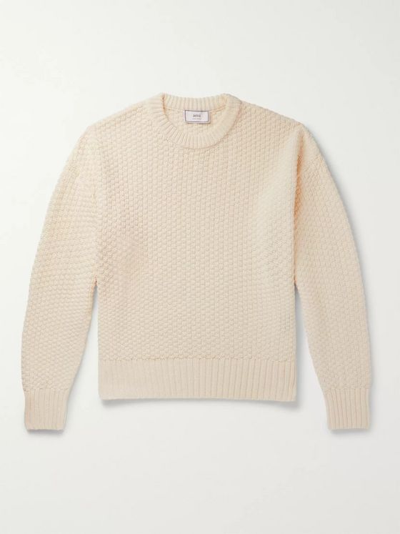 AMI Linen and Cotton-Blend Sweater
