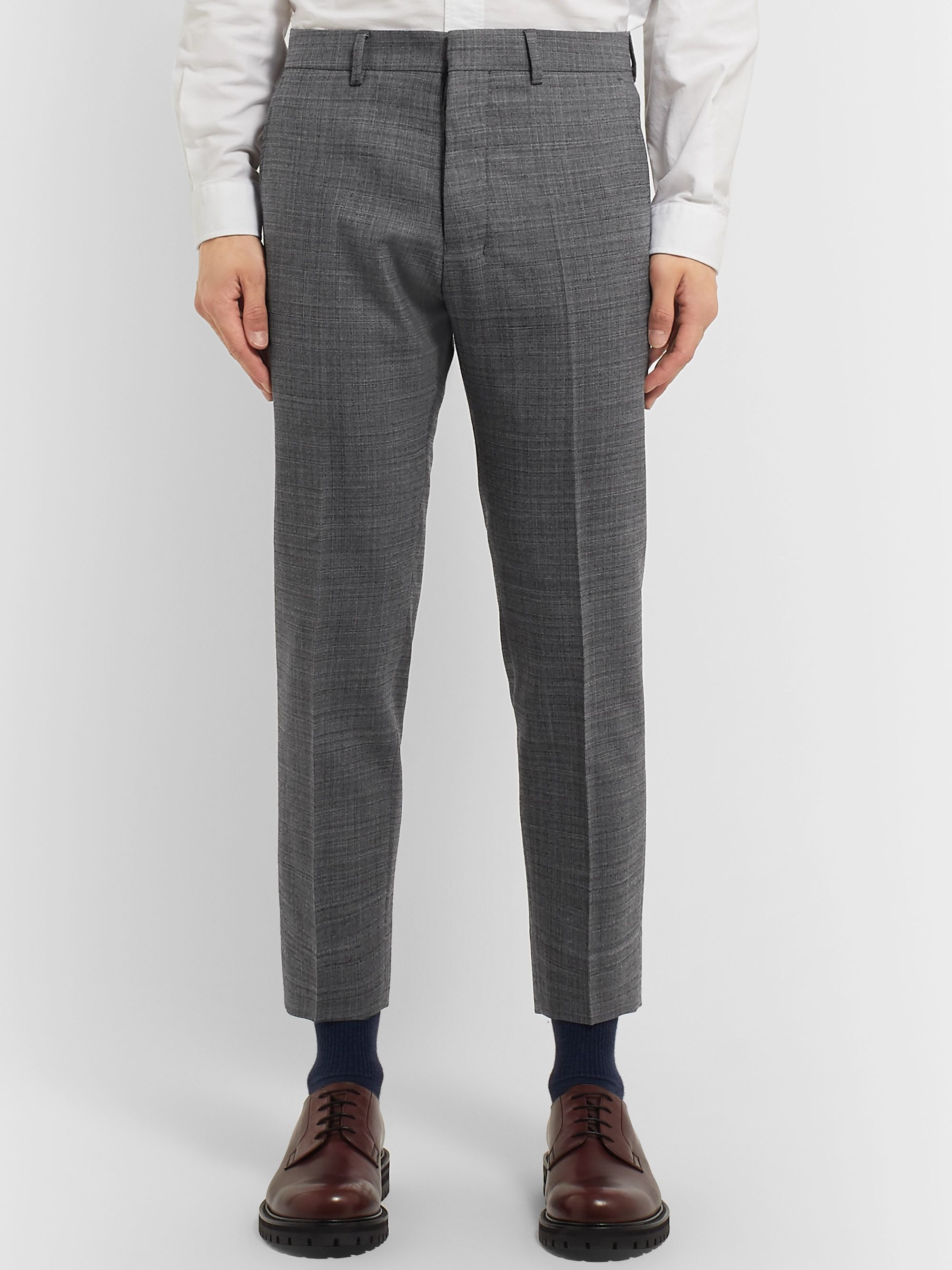 AMI Grey Slim-Fit Tapered Cropped Tweed Suit Trousers
