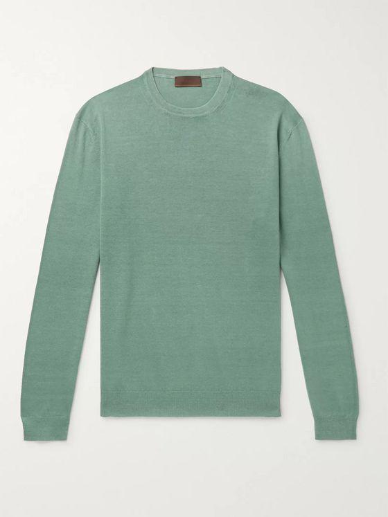 premium selection a333a 5b07d Slim-Fit Linen and Cotton-Blend Sweater