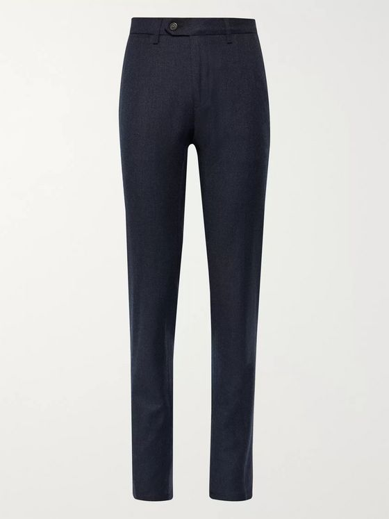 Canali Navy Travel Easy Care Virgin Wool Trousers