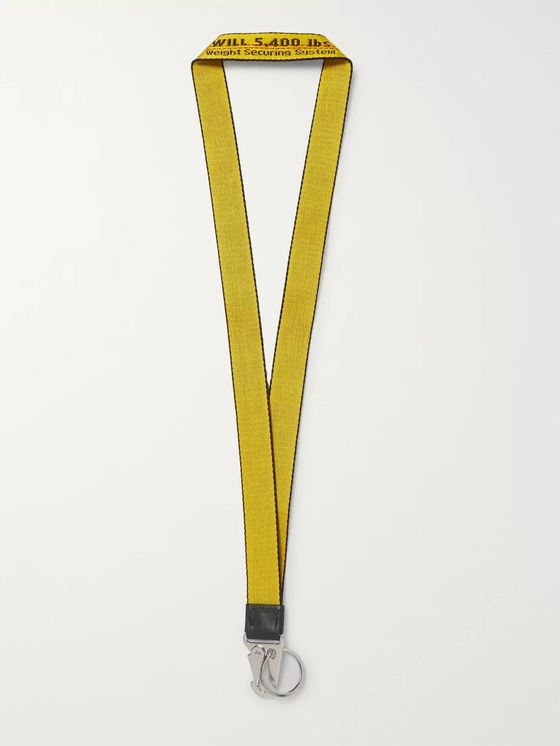 Off-White Industrial Leather-Trimmed Logo-Jacquard Webbing Lanyard