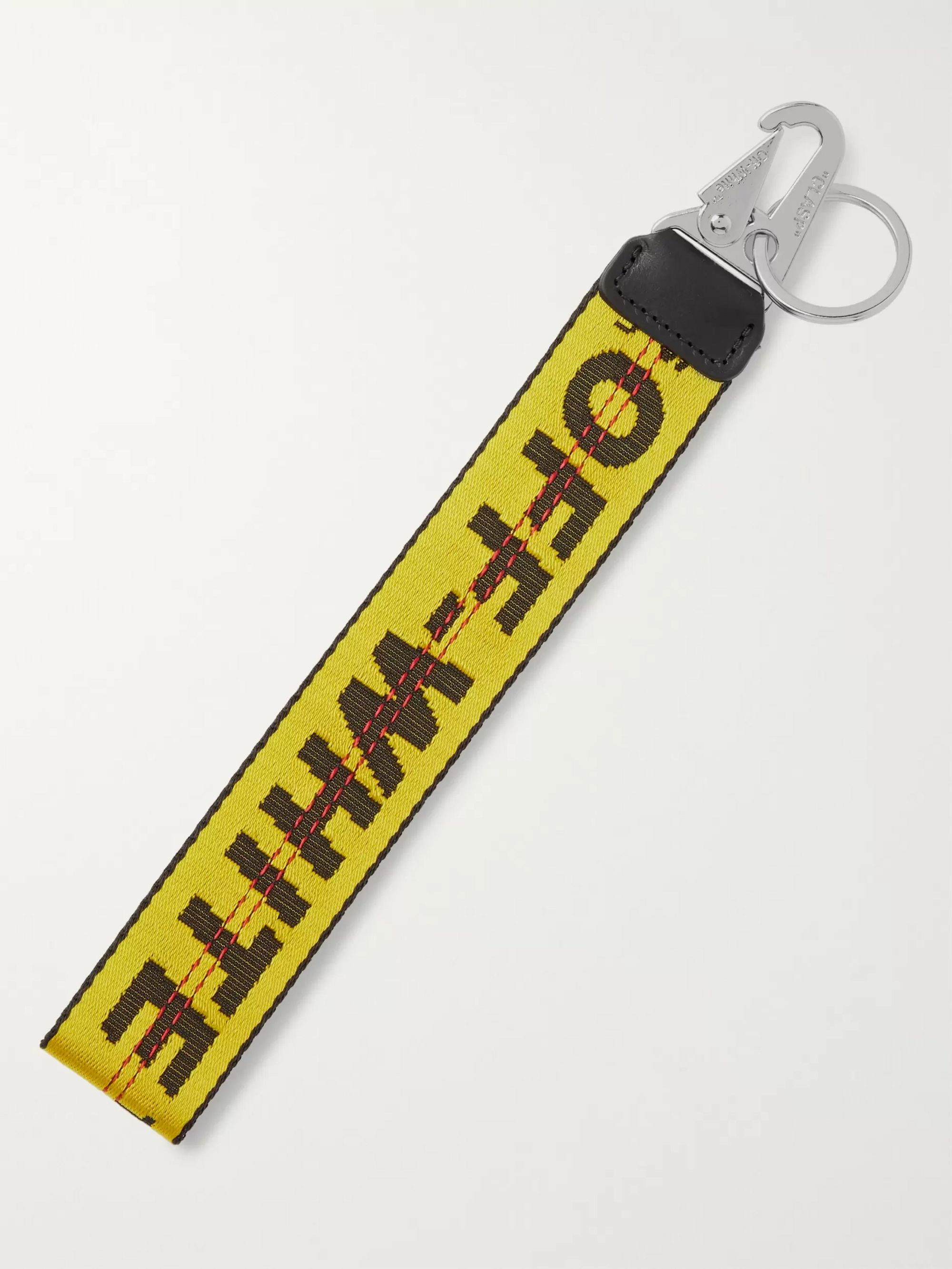 Off-White Leather-Trimmed Logo-Jacquard Webbing Key Fob
