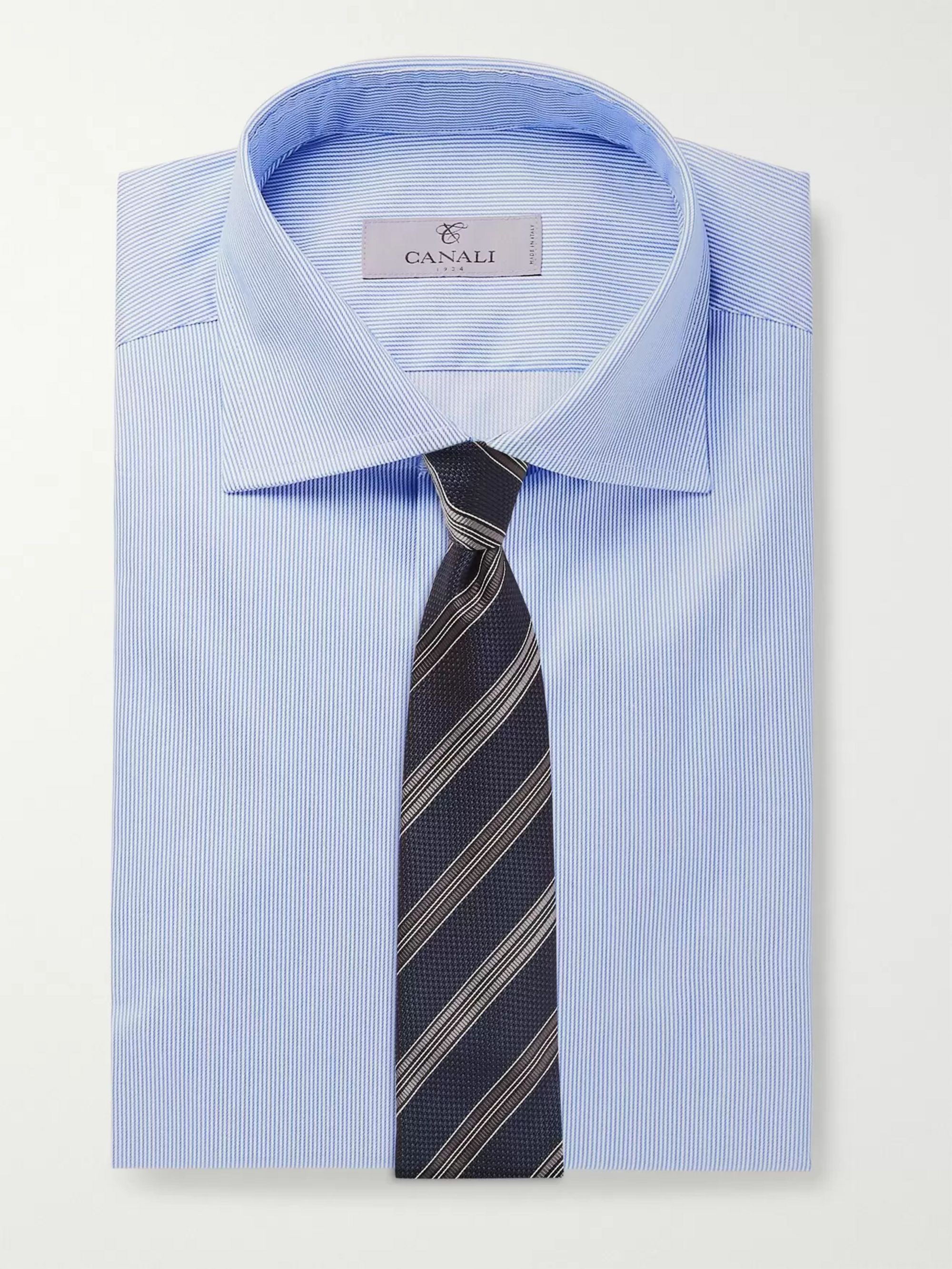 Canali Light-Blue Slim-Fit Cutaway-Collar Striped Cotton-Twill Shirt