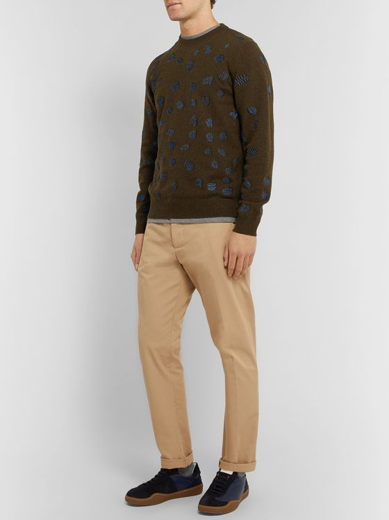 PS Paul Smith Embroidered Wool-Blend Sweater