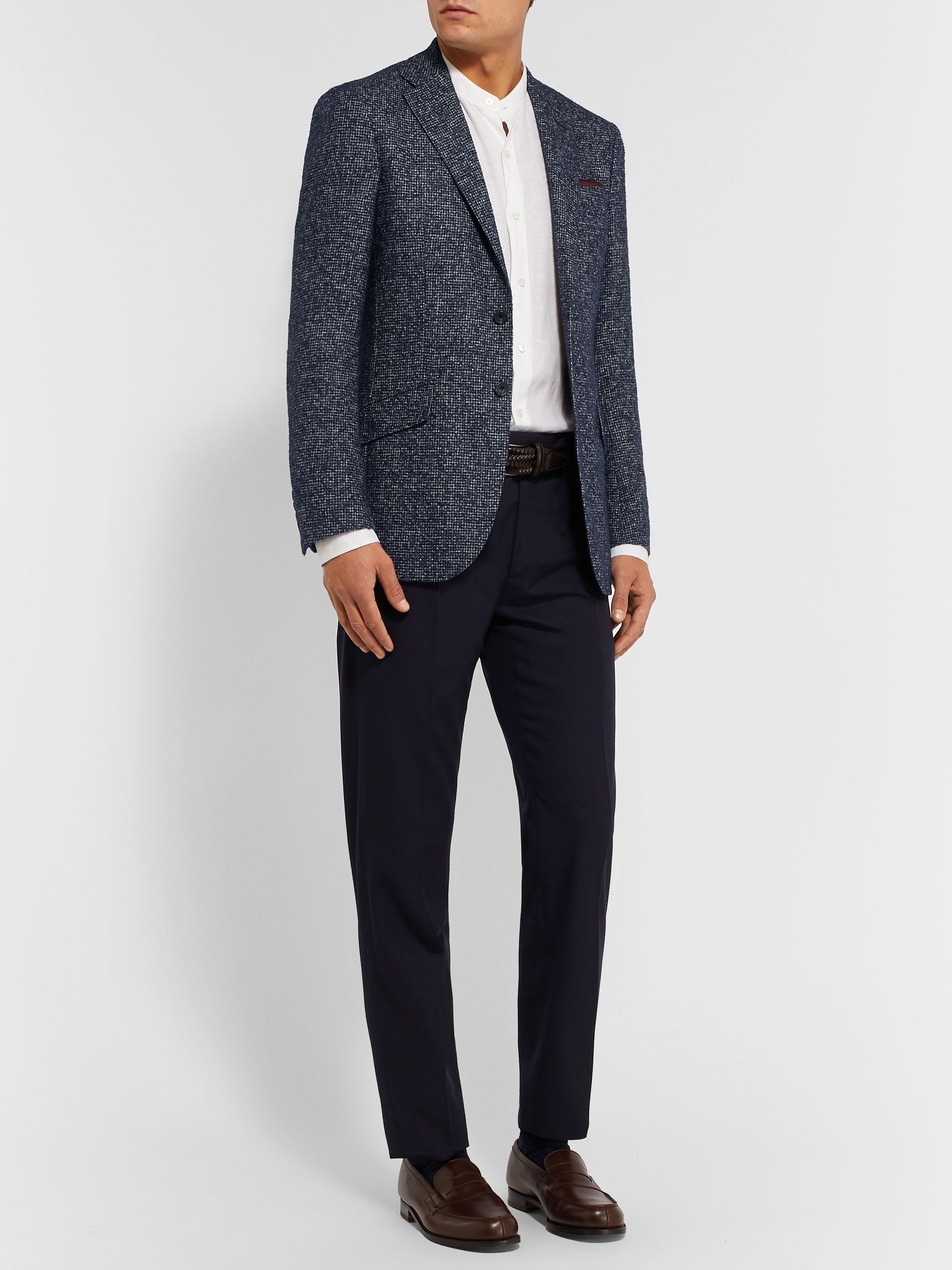 Richard James Navy Spirit Houndstooth Hopsack Blazer