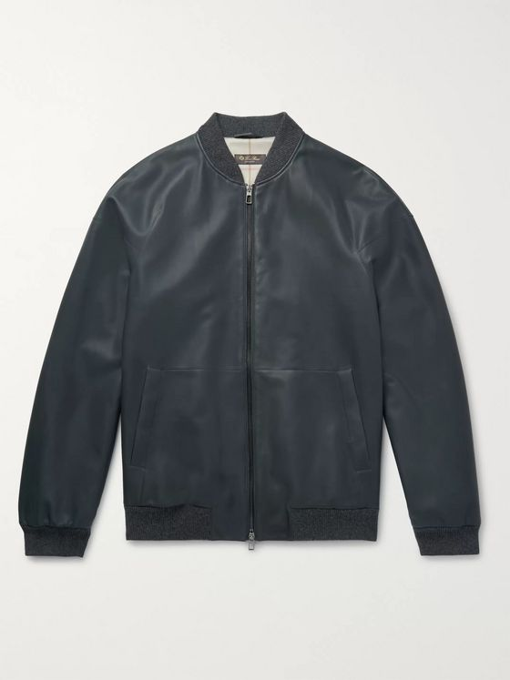 Loro Piana Ivy Rain System Leather Bomber Jacket