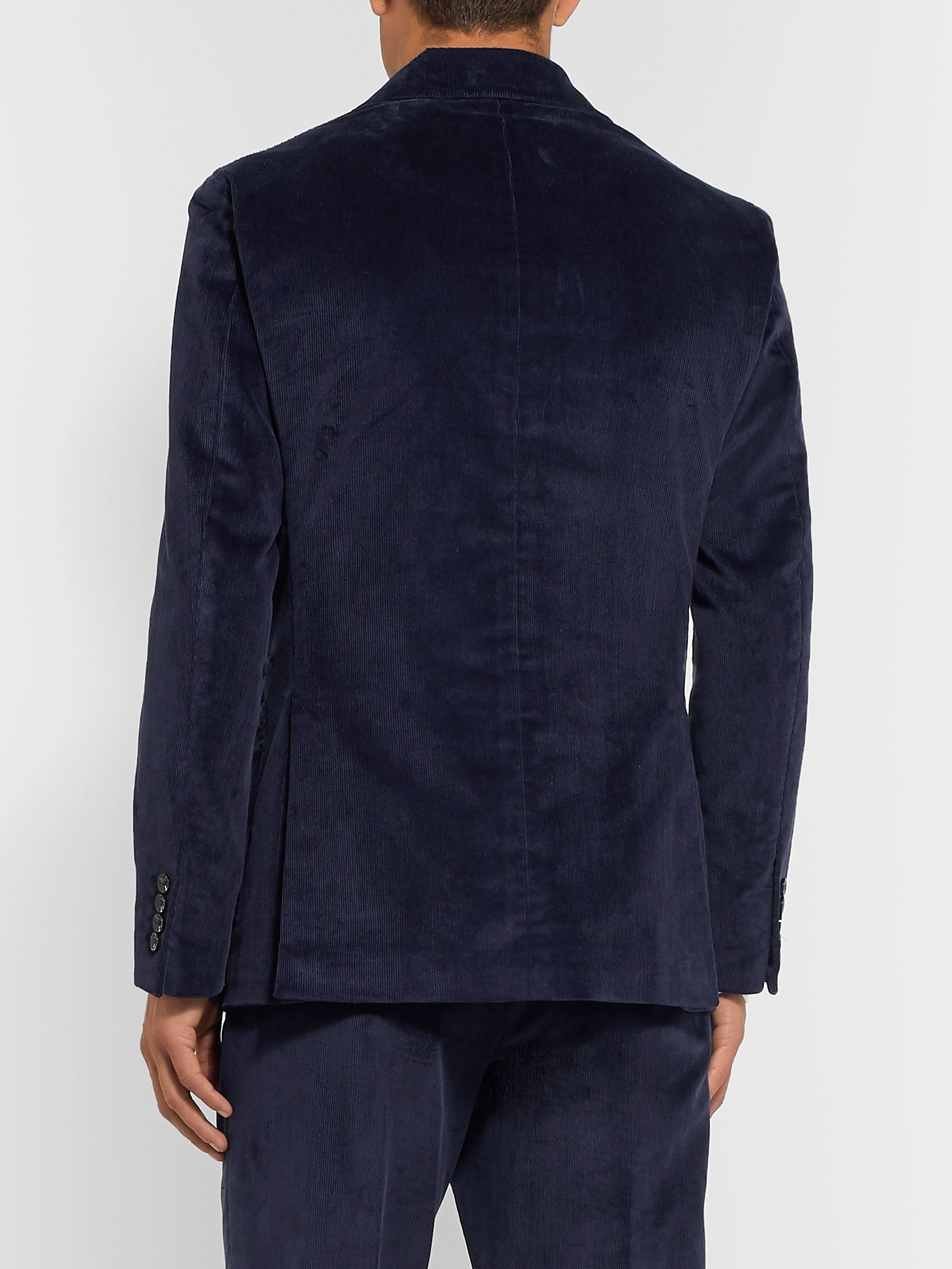 Caruso Indigo Unstructured Cotton-Blend Corduroy Suit Jacket