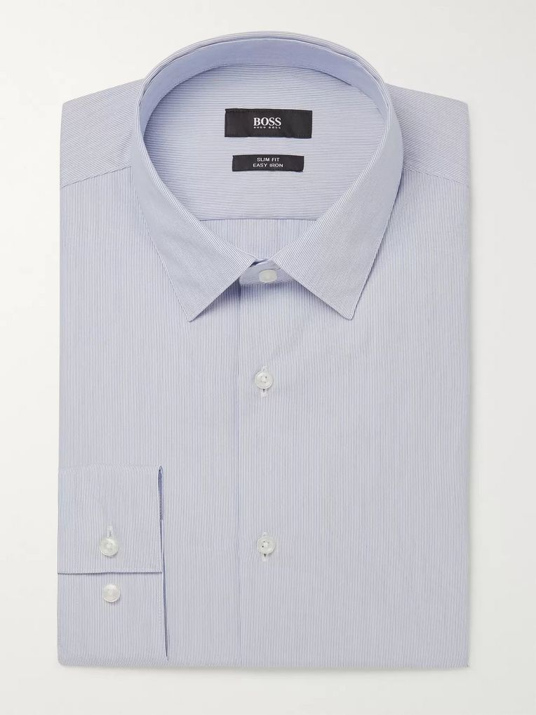 Hugo Boss Blue Slim-Fit Striped Cotton-Poplin Shirt