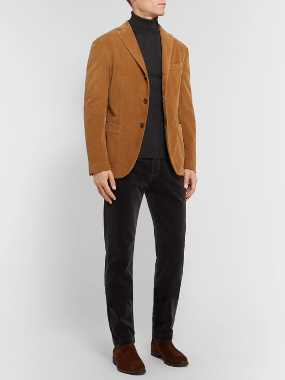 MASSIMO ALBA Slim-Fit Tapered Cotton-Velvet Trousers