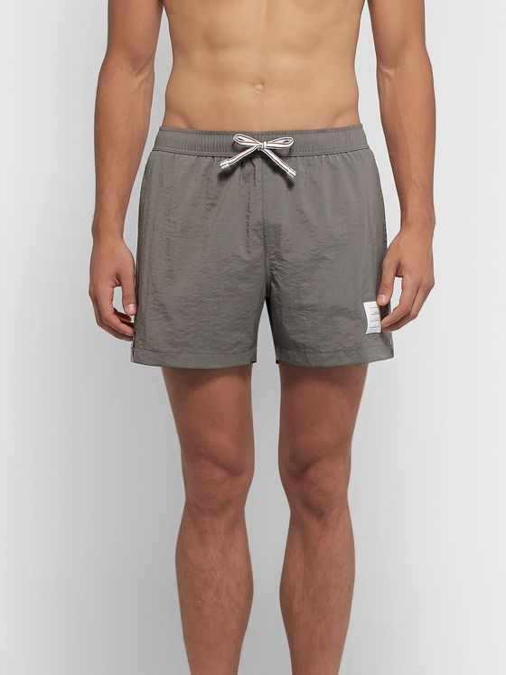 Thom Browne Short-Length Grosgrain-Trimmed Swim Shorts