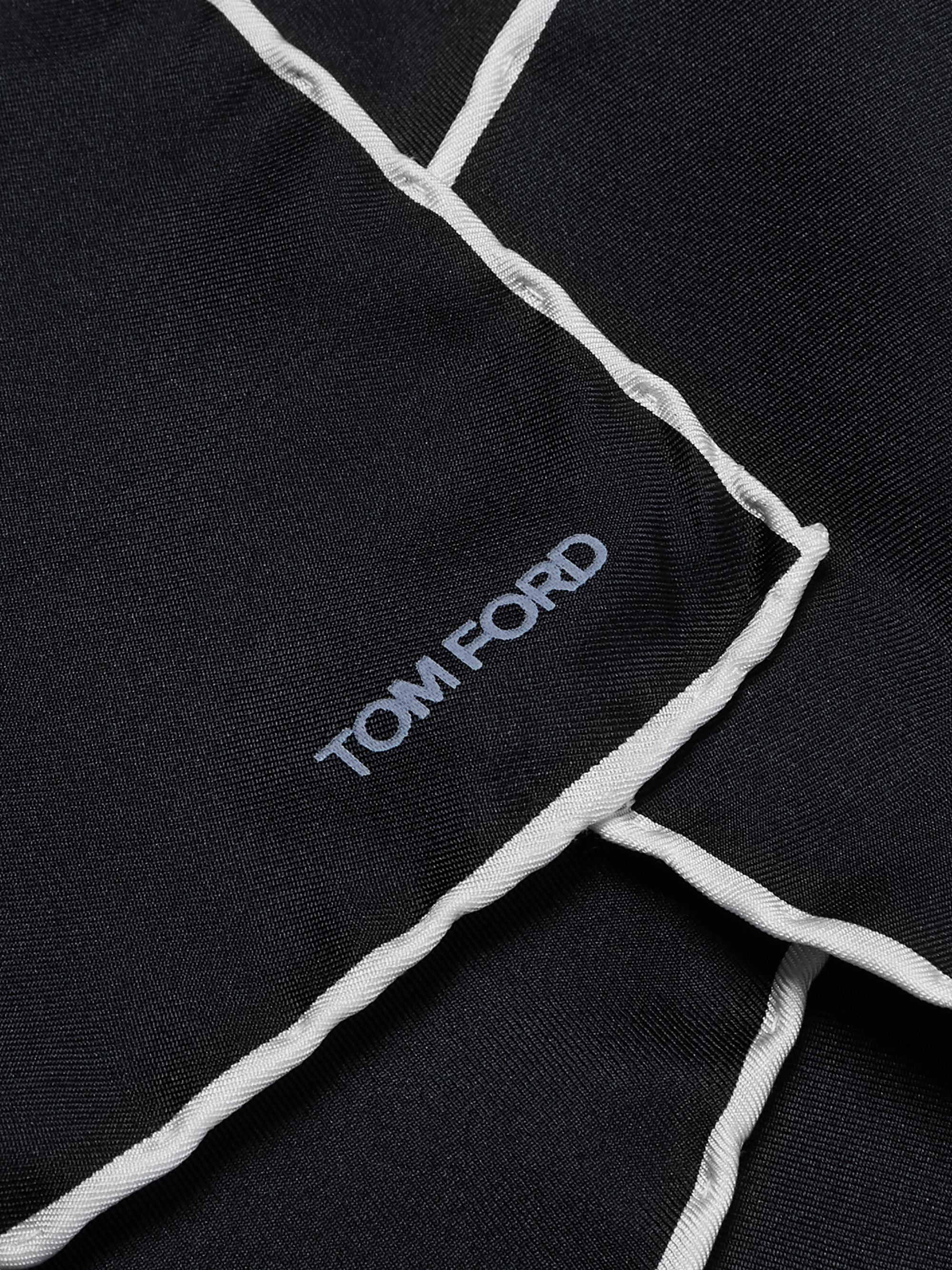TOM FORD Contrast-Tipped Silk-Twill Pocket Square