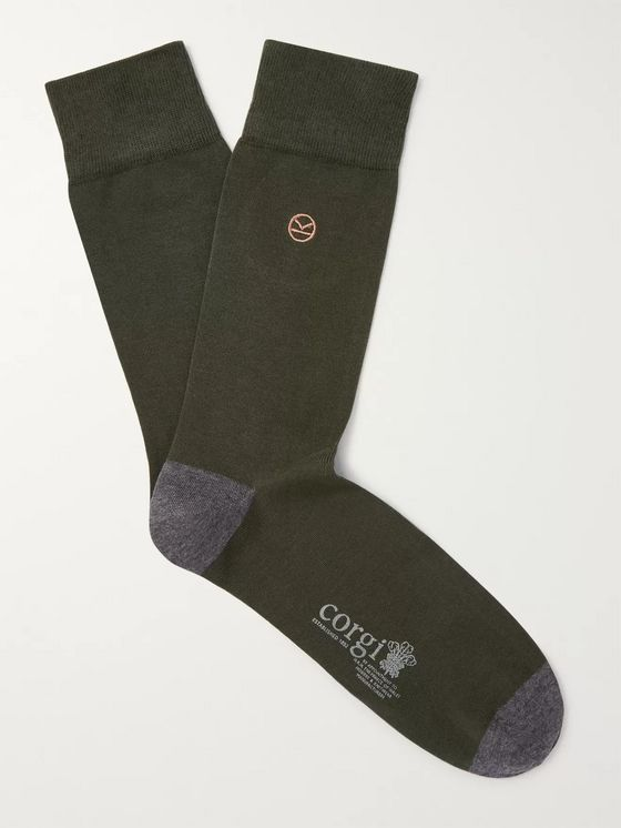 Kingsman Colour-Block Cotton-Blend Socks