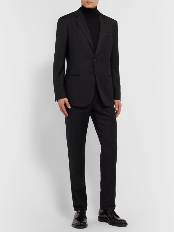 Giorgio Armani Black Slim-Fit Virgin Wool and Cashmere-Blend Suit