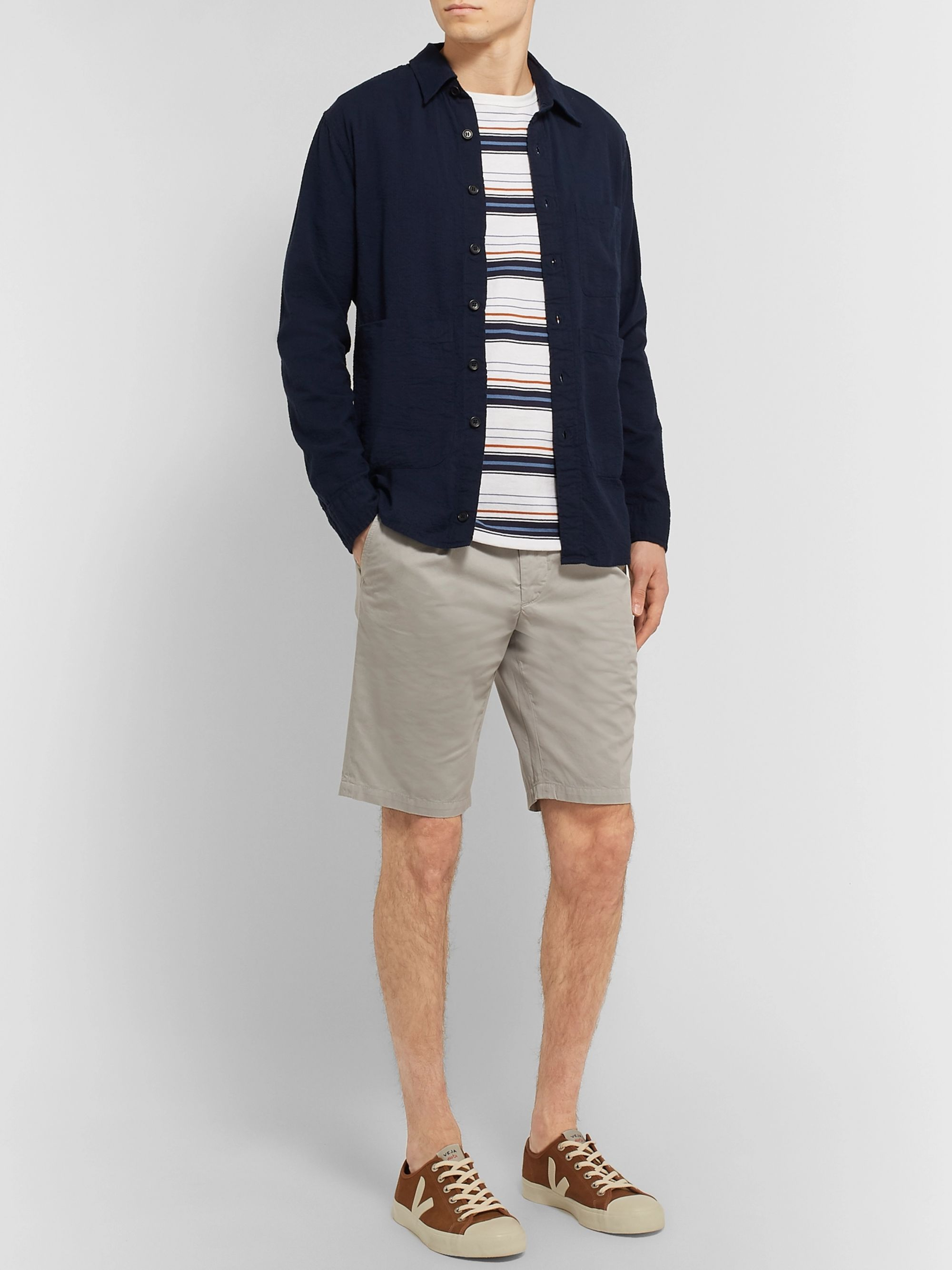 Aspesi Slim-Fit Pleated Cotton-Twill Shorts