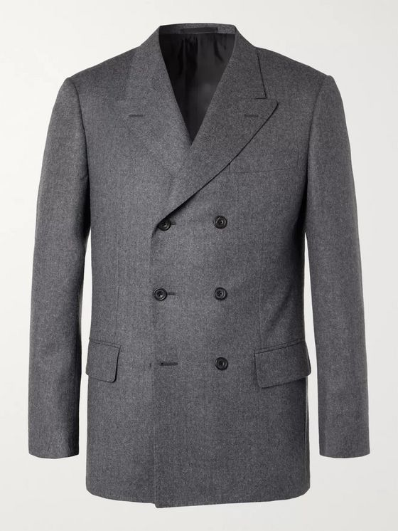 Kingsman Rocketman Grey Double-Breasted Wool-Flannel Suit Jacket