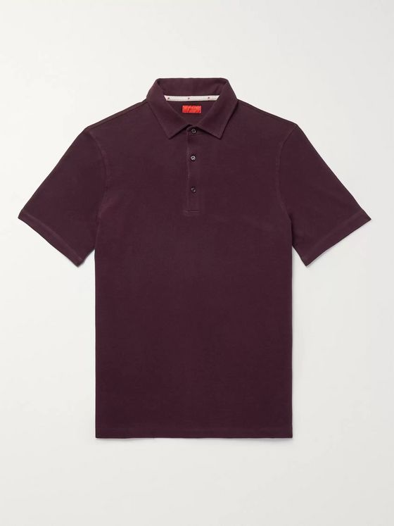 Isaia Slim-Fit Mélange Cotton-Piqué Polo Shirt