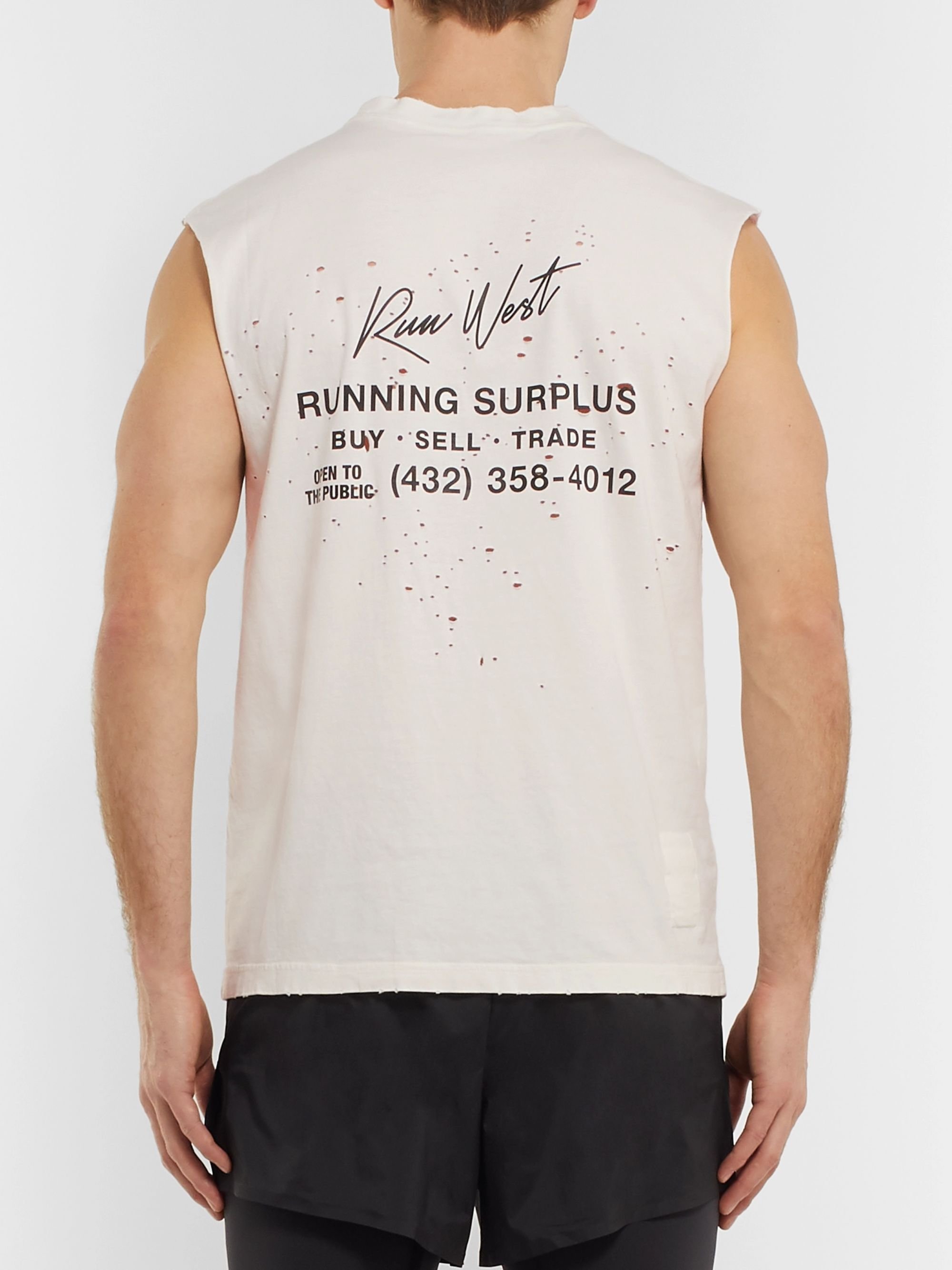 Satisfy Distressed Printed Cotton-Jersey Tank Top