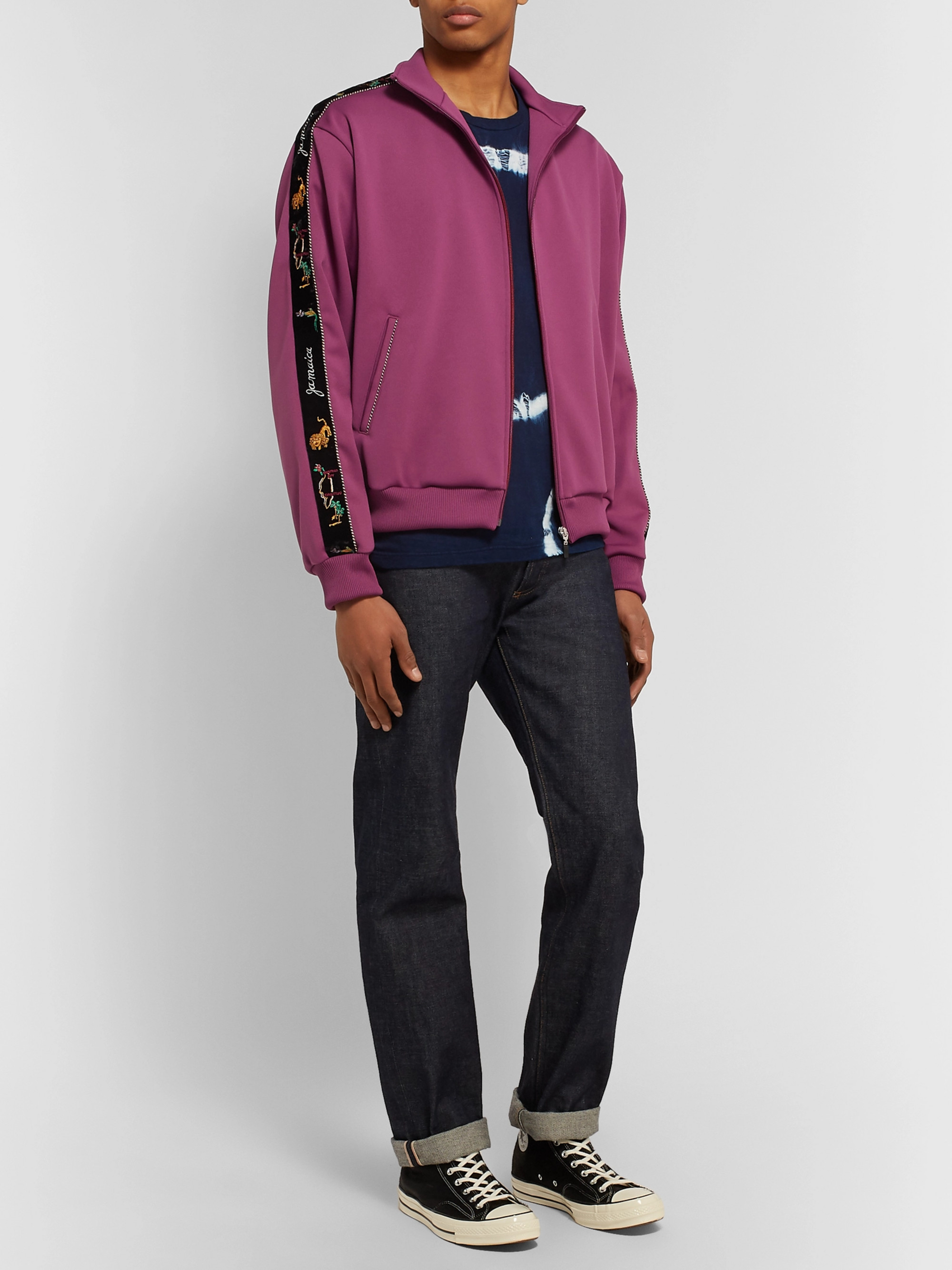KAPITAL Embroidered Velvet-Trimmed Tech-Jersey Track Jacket