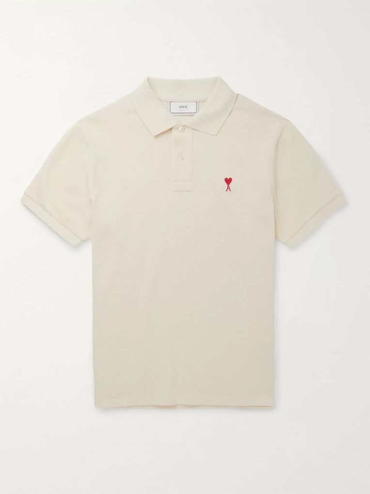AMI Logo-Appliquéd Cotton-Pique Polo Shirt
