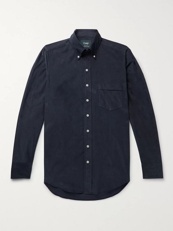 Drake's Easyday Button-Down Collar Cotton-Corduroy Shirt