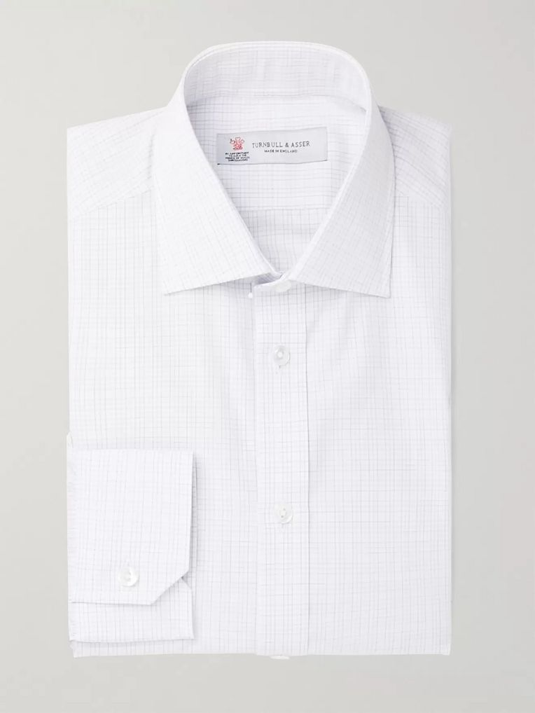 Turnbull & Asser White Slim-Fit Cutaway-Collar Checked Cotton-Poplin Shirt