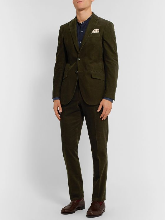 Richard James Dark-Green Slim-Fit Cotton-Corduroy Suit Trousers