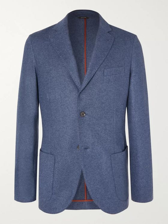 LORO PIANA Blue Slim-Fit Cashmere Blazer