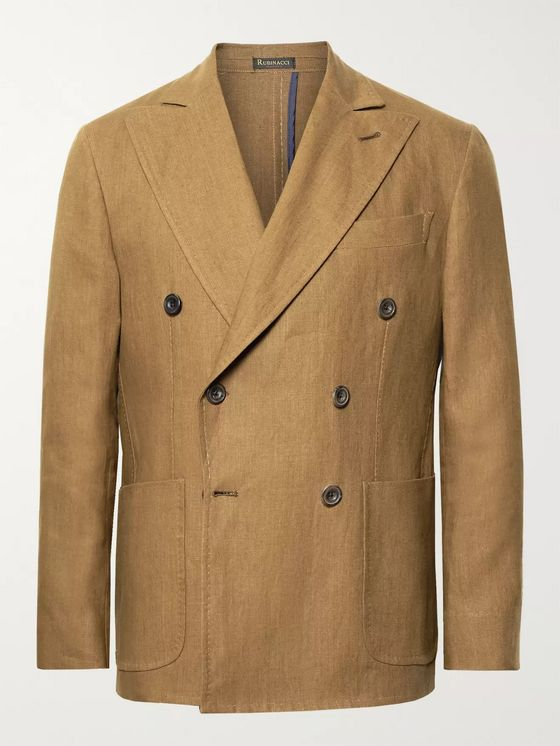Rubinacci Brown Double-Breasted Linen Suit Jacket