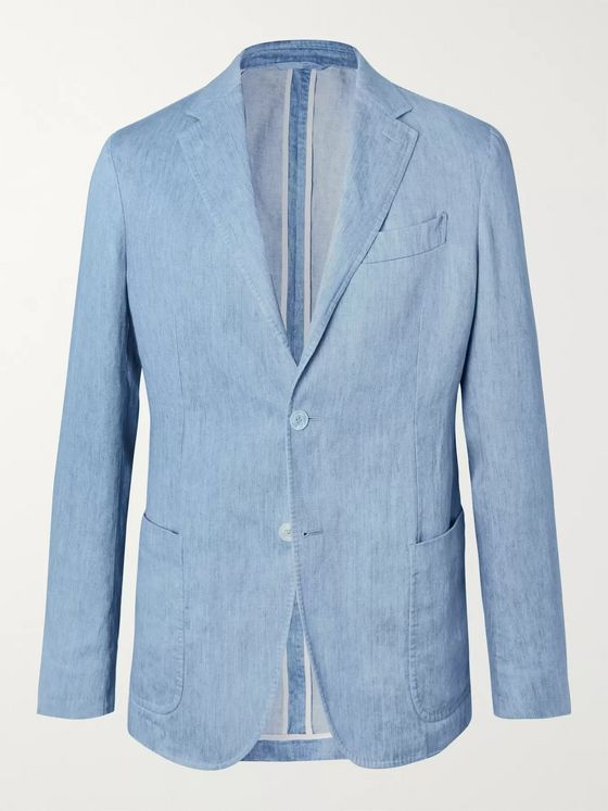 Ermenegildo Zegna Light-Blue Unstructured Linen Blazer
