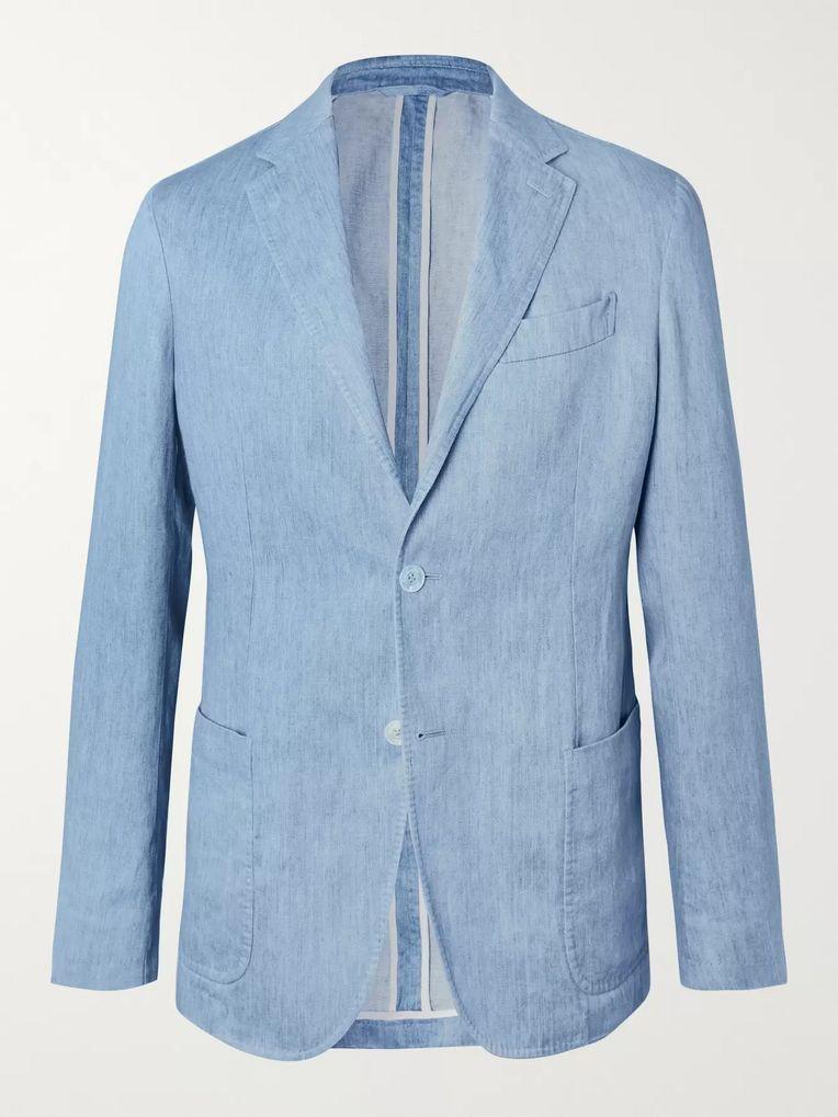 da5560bc02 Light-Blue Unstructured Linen Blazer