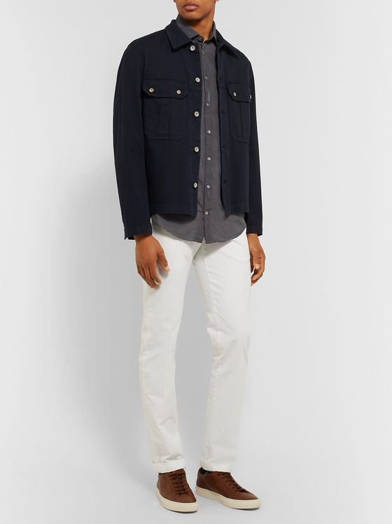 Massimo Alba Micro-Checked Cotton-Poplin Shirt