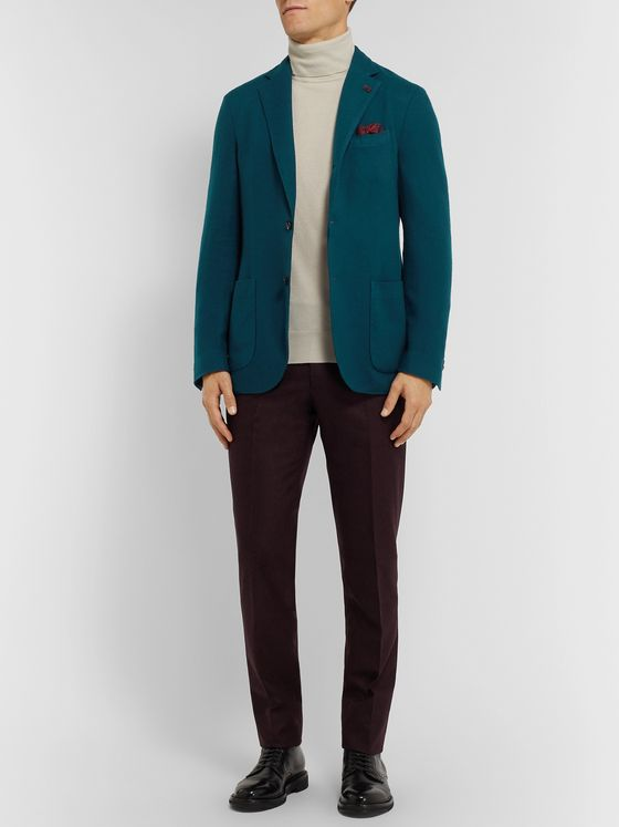 Lardini Teal Brushed Cashmere and Wool-Blend Twill Blazer