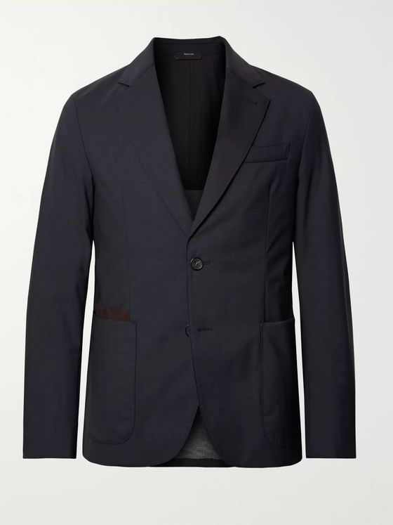 Ermenegildo Zegna Navy Slim-Fit Elements Trofeo Tech-Wool Blazer