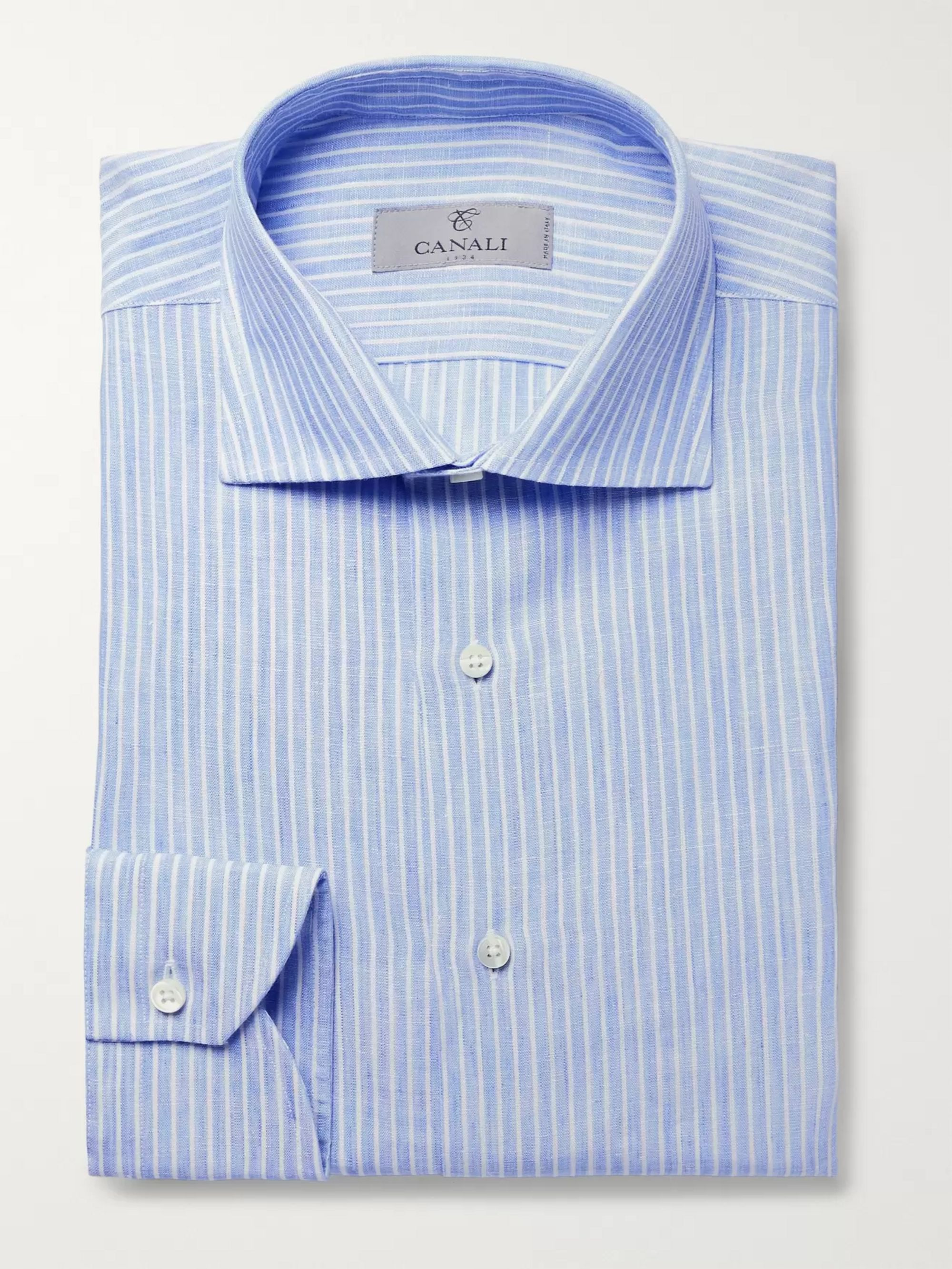 Canali Blue Slim-Fit Pinstriped Linen Shirt