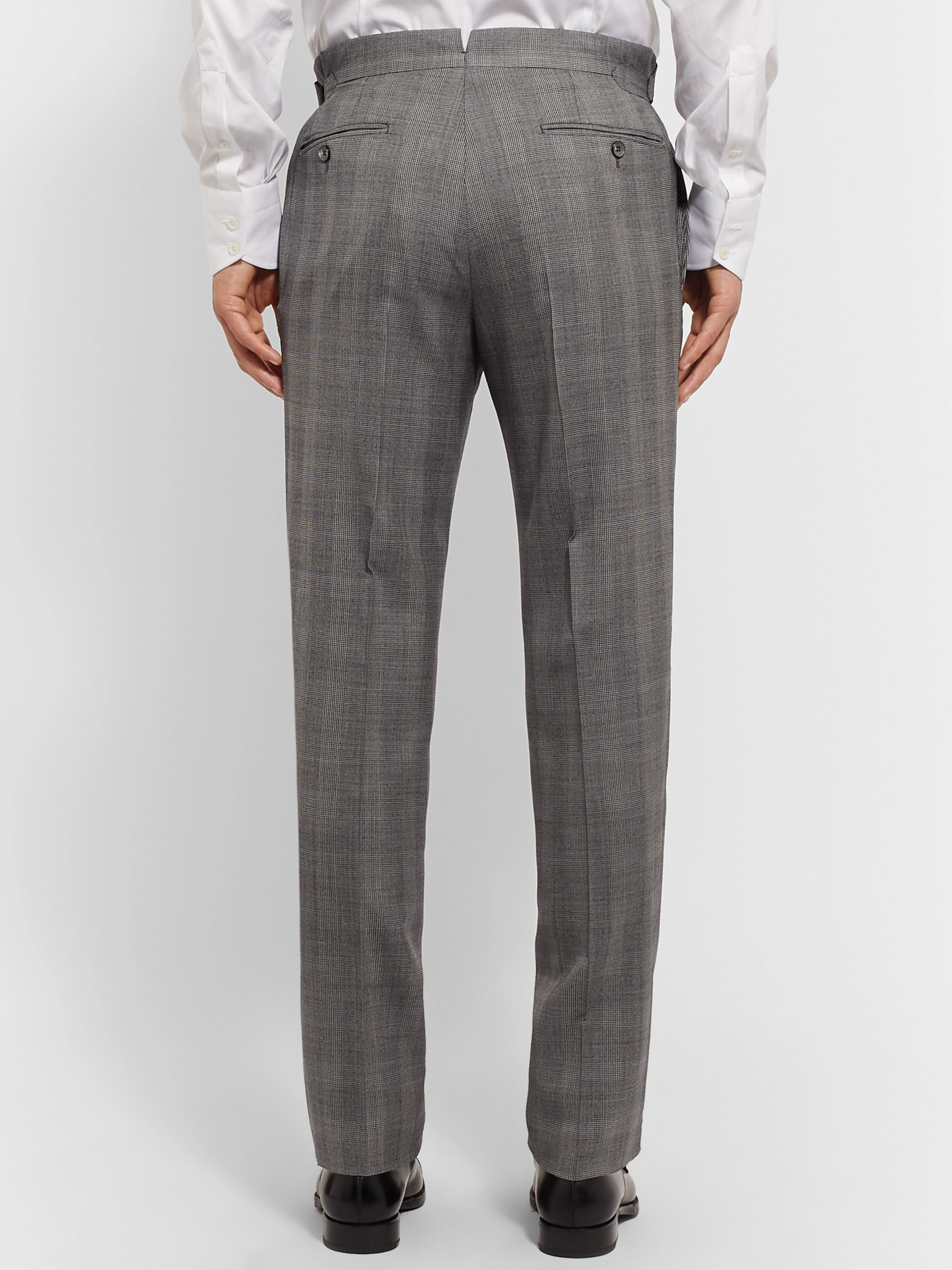TOM FORD Grey Slim-Fit Prince of Wales Checked Wool and Silk-Blend Suit Trousers