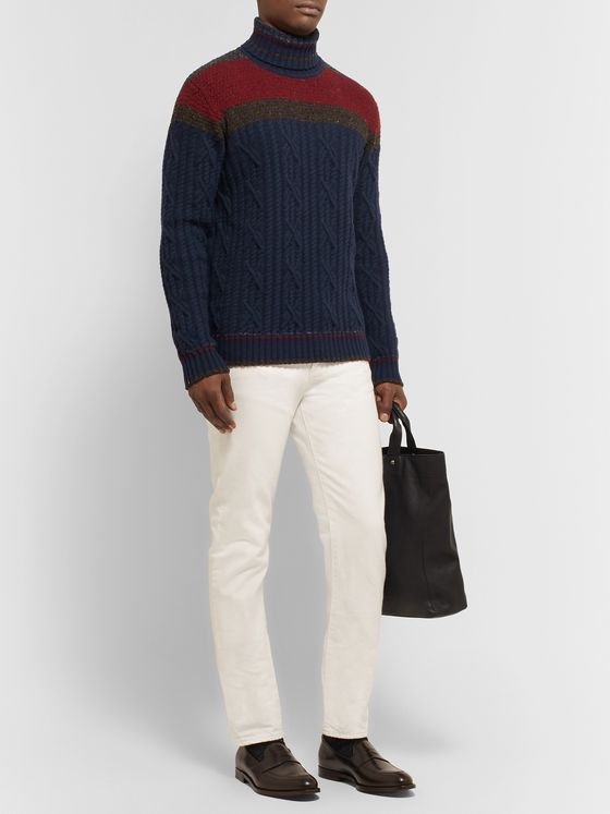 Etro Slim-Fit Colour-Block Cable-Knit Wool-Blend Rollneck Sweater