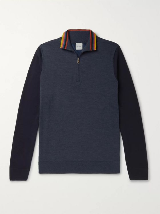 Paul Smith Stripe-Trimmed Colour-Block Merino Wool Half-Zip Sweater