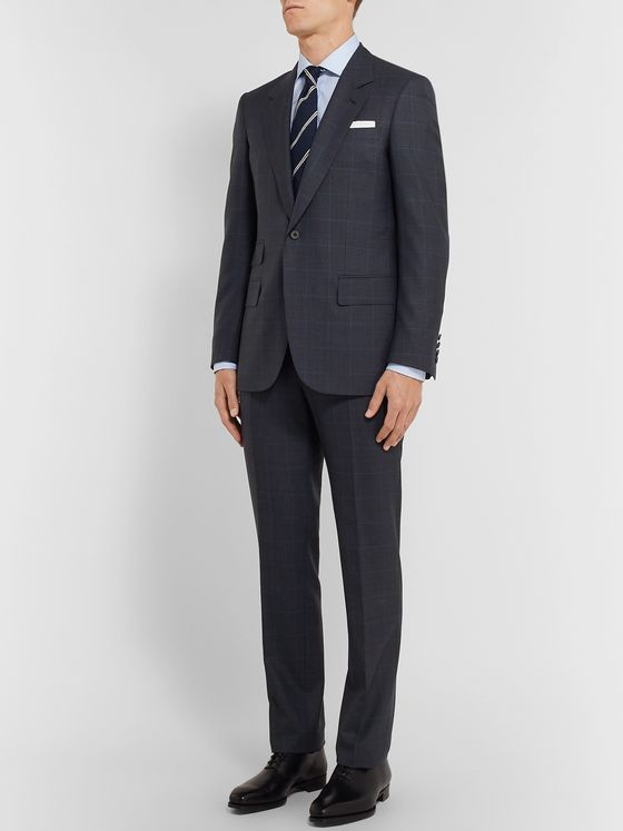 Kingsman Navy Slim-Fit Prince of Wales Checked Wool Suit Jacket