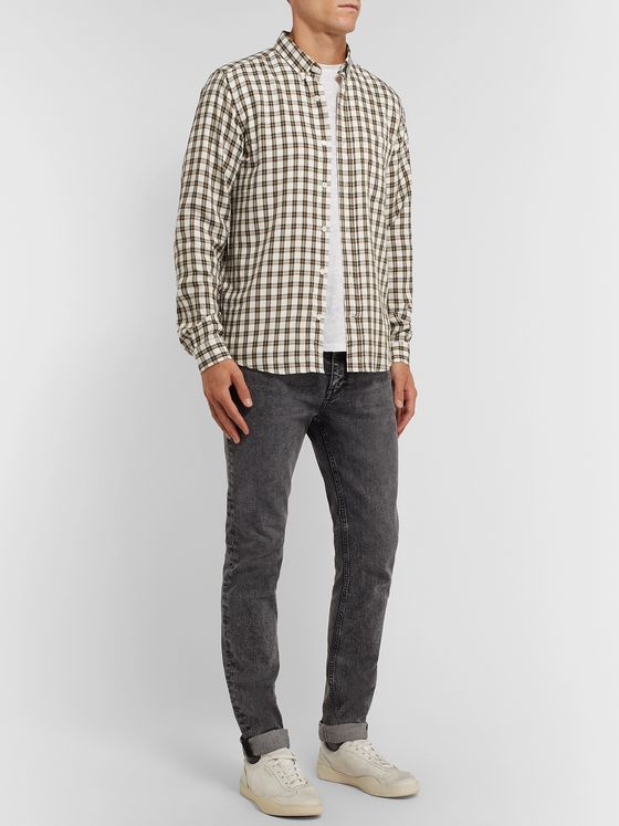 AMI Slim-Fit Button-Down Collar Checked Woven Shirt