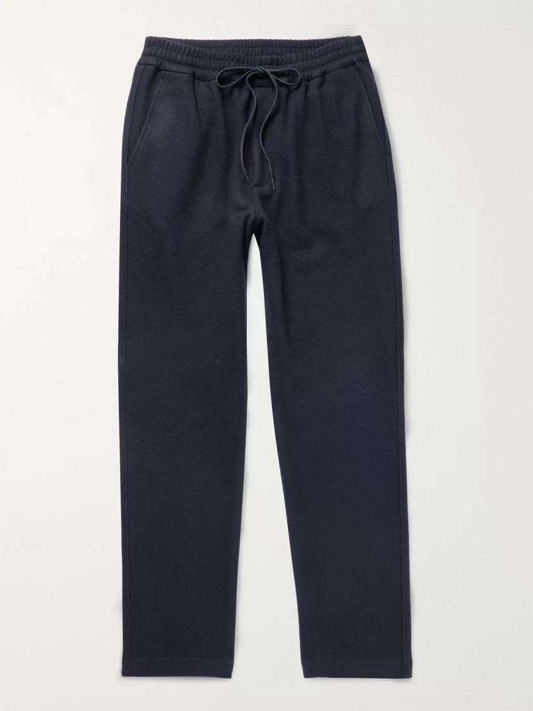Barena Midnight-Blue Brushed Virgin Wool-Blend Drawstring Trousers