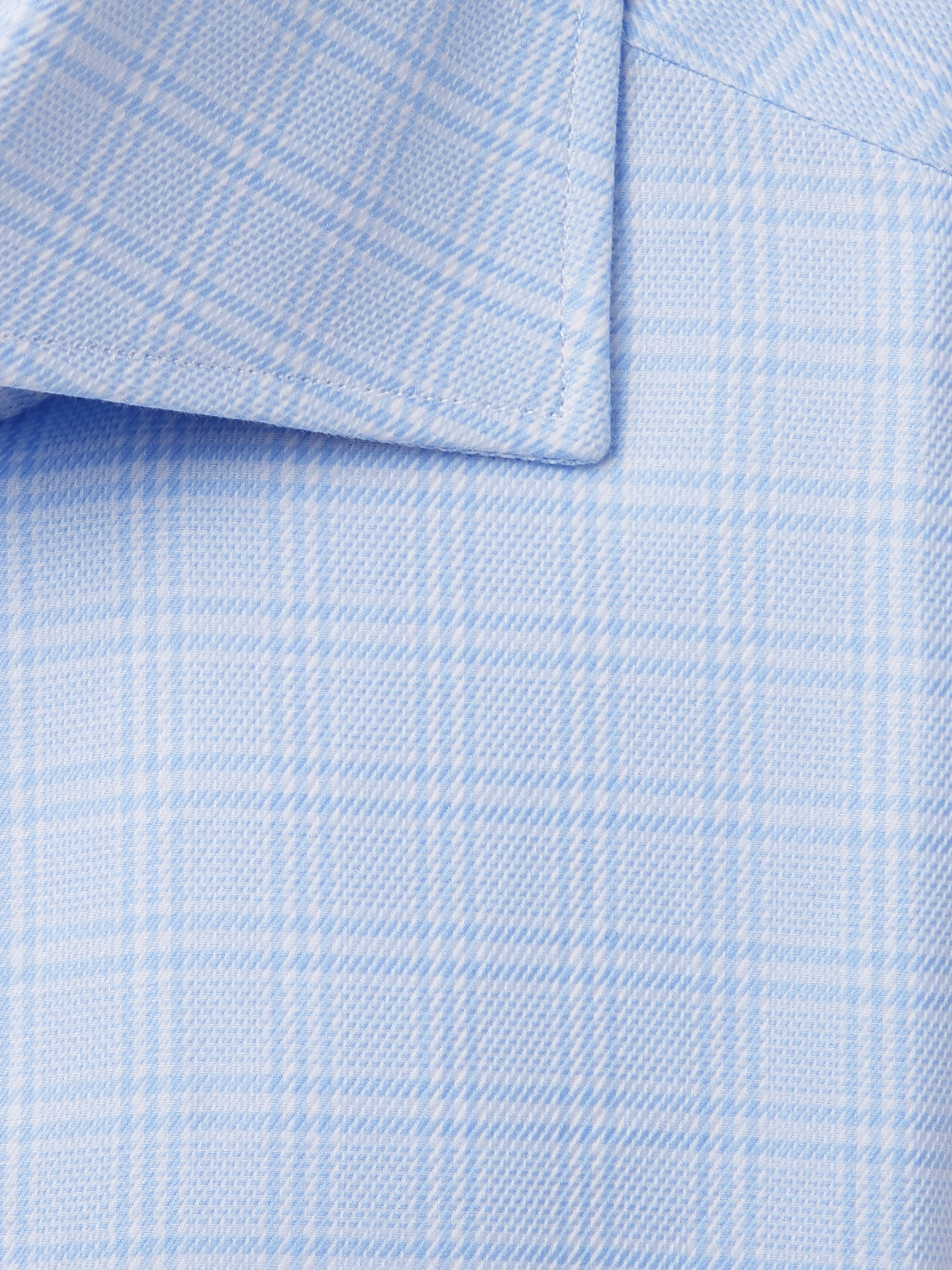 Ermenegildo Zegna Light-Blue Cutaway-Collar Prince of Wales Checked Cotton Shirt
