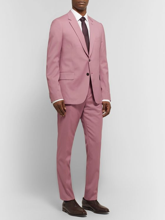 Paul Smith Dusty-Pink A Suit To Travel In Slim-Fit Wool Suit Trousers