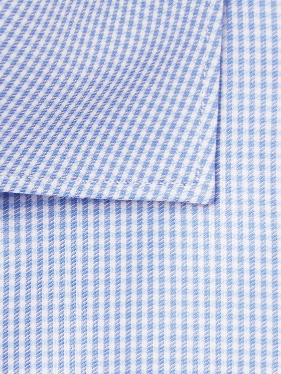 Brioni Light-Blue Cutaway-Collar Puppytooth Cotton Shirt