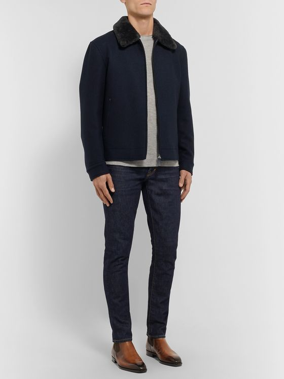 Brioni Shearling-Trimmed Wool Bomber Jacket
