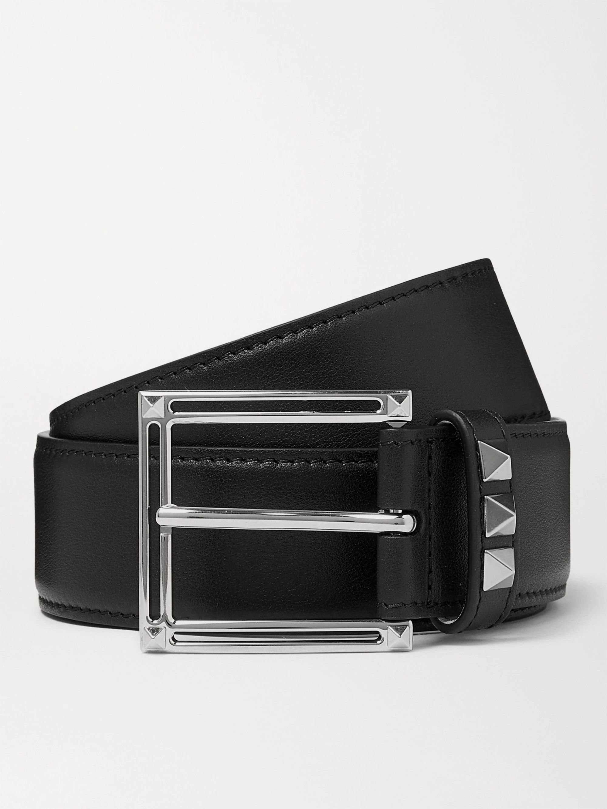 Valentino Valentino Garavani 3.5cm Black Rockstud Leather Belt