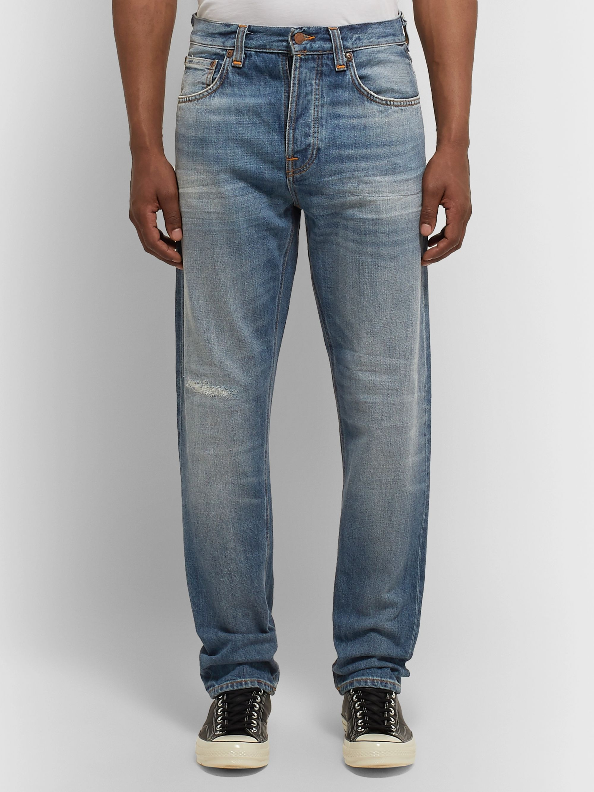 Nudie Jeans Steady Eddie II Tapered Distressed Organic Denim Jeans
