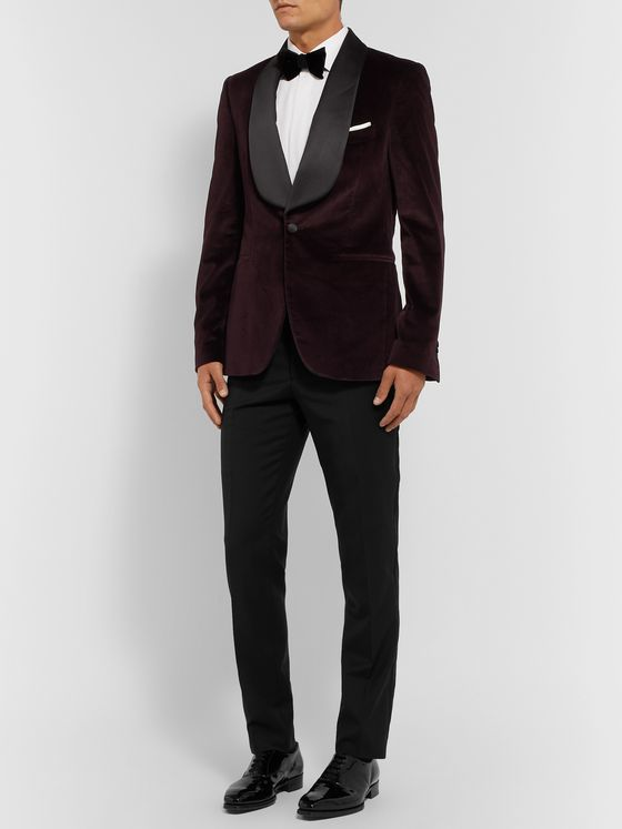 Etro Black Slim-Fit Grosgrain-Trimmed Wool Tuxedo Trousers