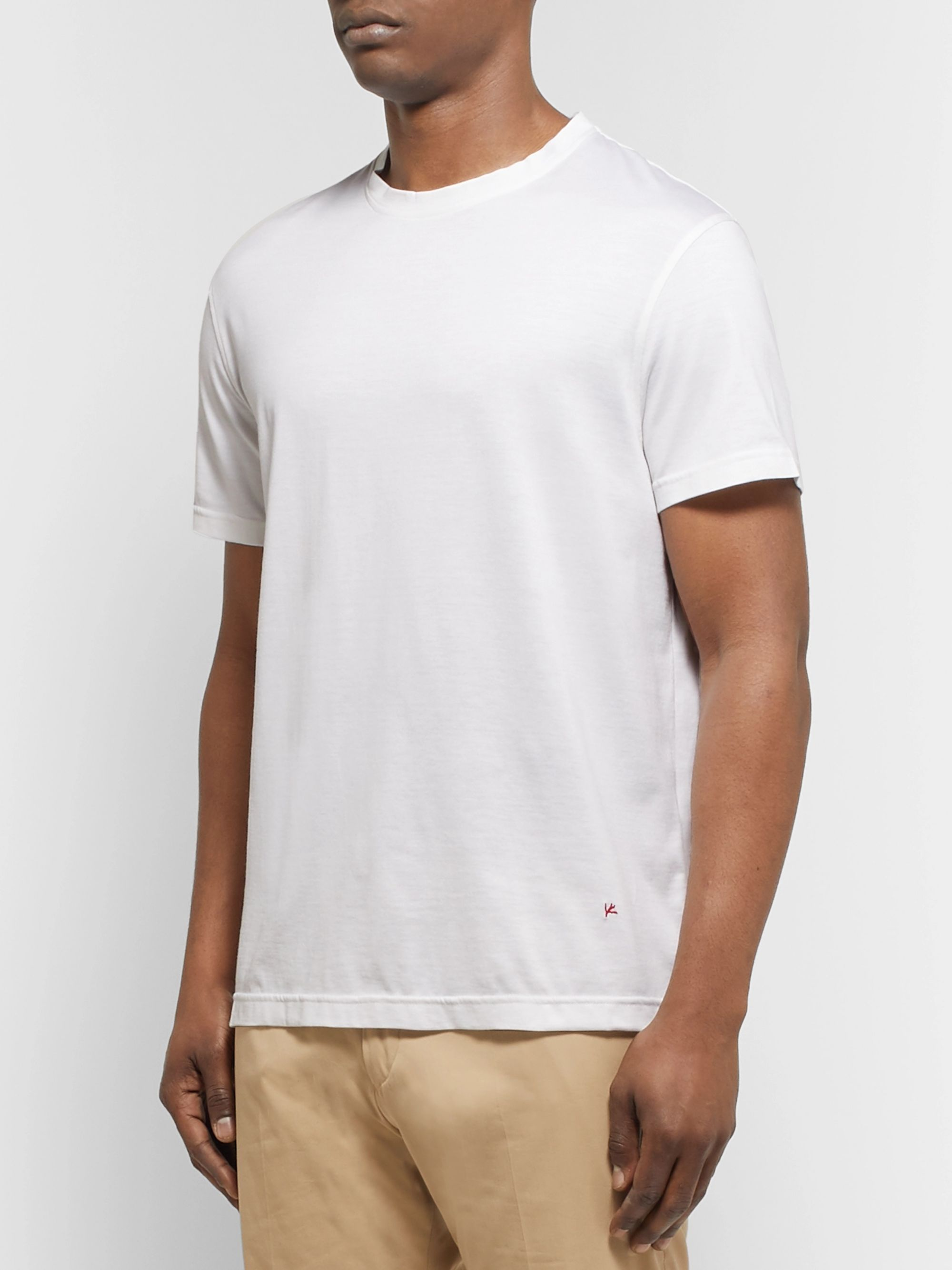 Isaia Silk and Cotton-Blend Jersey T-Shirt